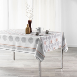 Nappe anti tache 150 x 300 cm imprime oreanis Blanc