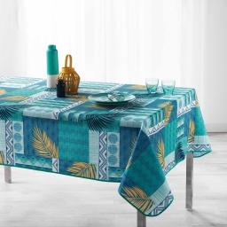 Nappe antitache 150 x 240 cm polyester imprime neha Bleu