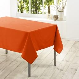 Nappe carree 180 x 180 cm polyester uni essentiel Brique