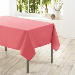 Nappe carree 180 x 180 cm polyester uni essentiel Corail