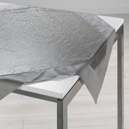 Nappe carree 85 x 85 cm organza imprime+satin festille Gris