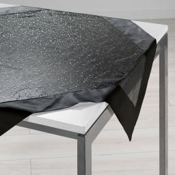 Nappe carree 85 x 85 cm organza imprime+satin festille Noir
