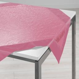 Nappe carree 85 x 85 cm organza imprime+satin festille Rose