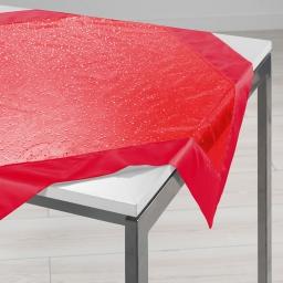 Nappe carree 85 x 85 cm organza imprime+satin festille Rouge