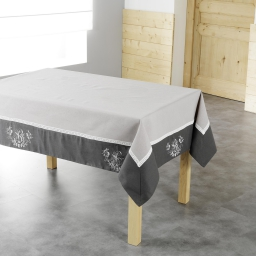 Nappe carree 85 x 85 cm polyester brode bonheur Taupe/Anthracite
