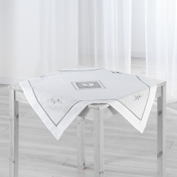 Nappe carree 85 x 85 cm polyester/lin amandine Blanc