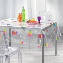 nappe cristal rectangle 140 x 240 cm pvc imprime 14/100e macarons