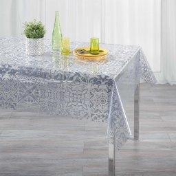 Nappe cristal rectangle 140 x 240 cm pvc imprime 14/100e persane Gris