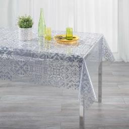 Nappe cristal rectangle 140 x 240 cm pvc imprime 14/100e persane Gris