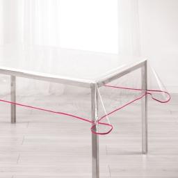 Nappe cristal rectangle 140 x 240 cm pvc uni 15/100e garden/biais Framboise