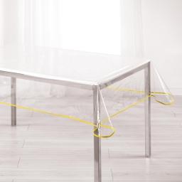 Nappe cristal rectangle 140 x 240 cm pvc uni 15/100e garden/biais Jaune