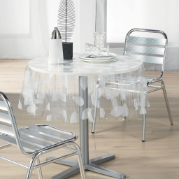 Nappe cristal ronde (0) 140 cm pvc imprime 14/100e feuille Blanc