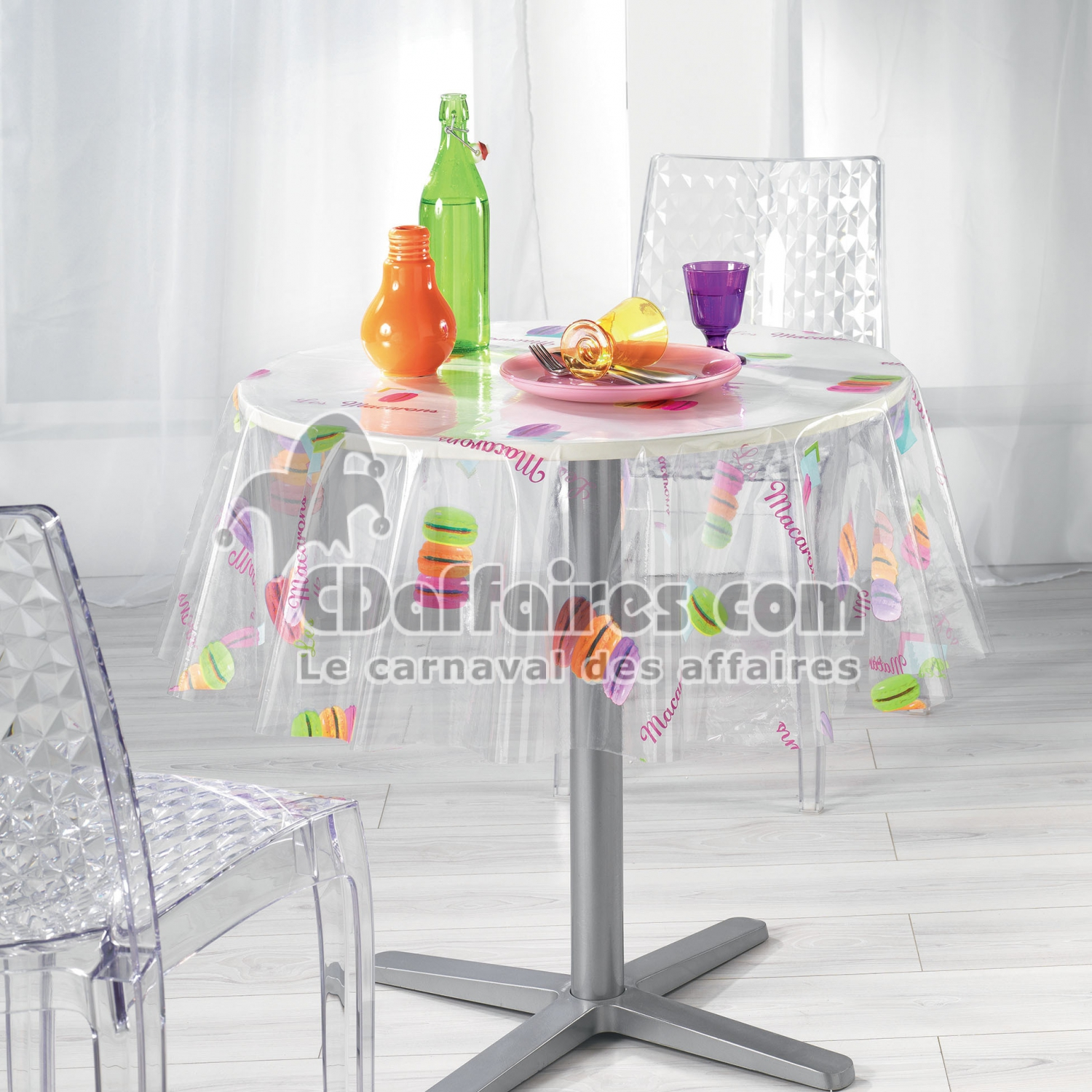 nappe cristal ronde 0 140 cm pvc imprime 14 100e macarons cdaffaires. Black Bedroom Furniture Sets. Home Design Ideas