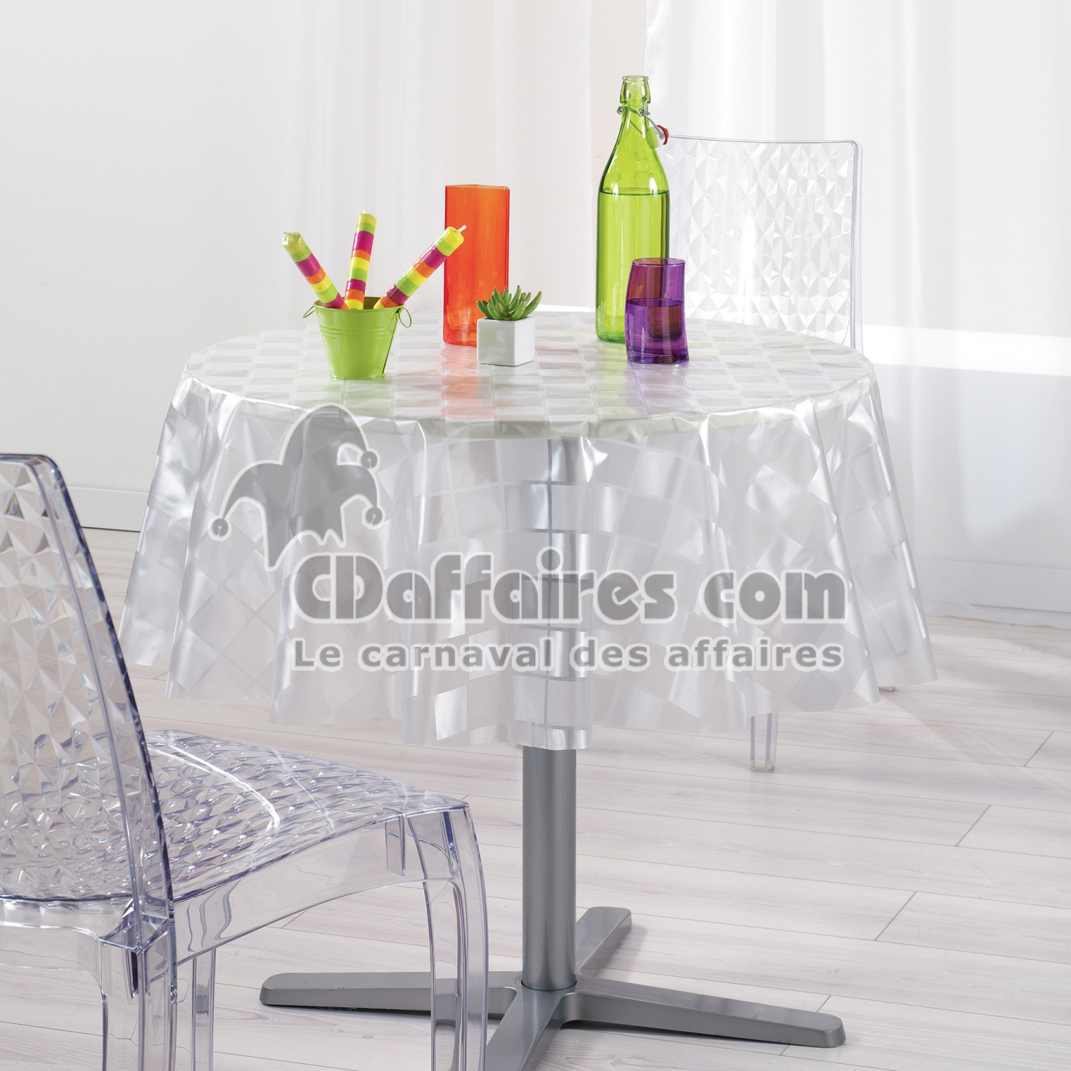 nappe cristal ronde 0 140 cm pvc imprime 18 100e mosa que cdaffaires. Black Bedroom Furniture Sets. Home Design Ideas