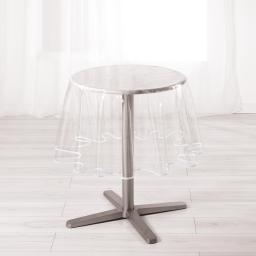 Nappe cristal ronde (0) 180 cm pvc uni 15/100e garden/biais Blanc