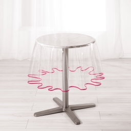 Nappe cristal ronde (0) 180 cm pvc uni 15/100e garden/biais Framboise