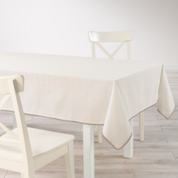 Nappe rectangle 140 x 240 cm coton uni+dentelle femina Naturel