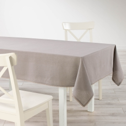 Nappe rectangle 140 x 240 cm coton uni+dentelle femina Taupe