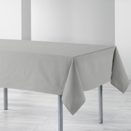 Nappe rectangle 140 x 240 cm coton uni ideale Gris