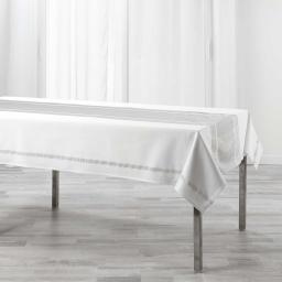 Nappe rectangle 140 x 240 cm coton uni+lurex elegancia Argent