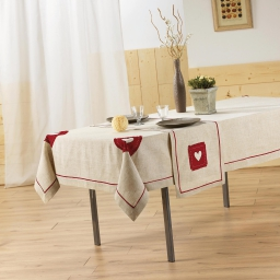 Nappe rectangle 140 x 240 cm lin/polyester mont blanc Rouge