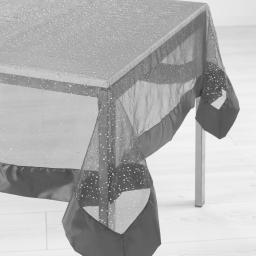Nappe rectangle 140 x 240 cm organza imprime+satin festille Gris