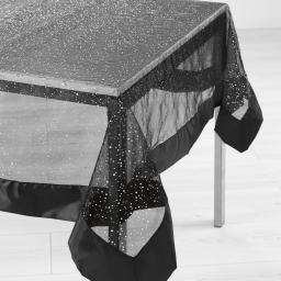 Nappe rectangle 140 x 240 cm organza imprime+satin festille Noir