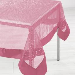 Nappe rectangle 140 x 240 cm organza imprime+satin festille Rose