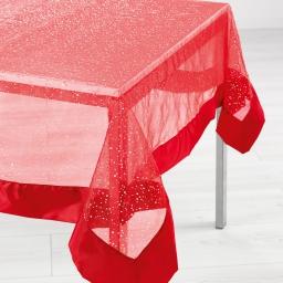 Nappe rectangle 140 x 240 cm organza imprime+satin festille Rouge