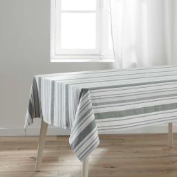 Nappe rectangle 140 x 240 cm polycoton tisse santorin Gris/blanc