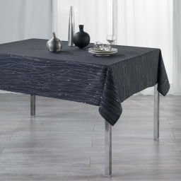Nappe rectangle 140 x 240 cm polyester applique filiane Anthracite