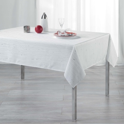 Nappe rectangle 140 x 240 cm polyester applique filiane Blanc