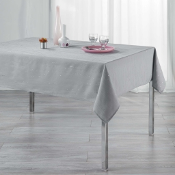 Nappe rectangle 140 x 240 cm polyester applique filiane Gris