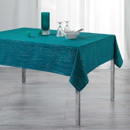 Nappe rectangle 140 x 240 cm polyester applique filiane Petrole