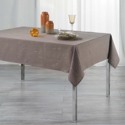 Nappe rectangle 140 x 240 cm polyester applique filiane Taupe