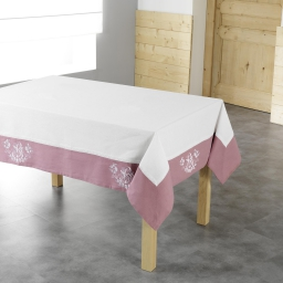 Nappe rectangle 140 x 240 cm polyester brode bonheur Rose/Blanc