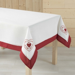 Nappe rectangle 140 x 240 cm polyester brode monlisa Rouge