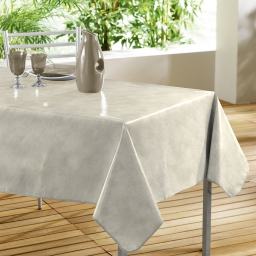 Nappe rectangle 140 x 240 cm pvc faux uni beton cire Beige