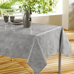 Nappe rectangle 140 x 240 cm pvc faux uni beton cire Gris
