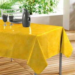 Nappe rectangle 140 x 240 cm pvc faux uni beton cire Jaune