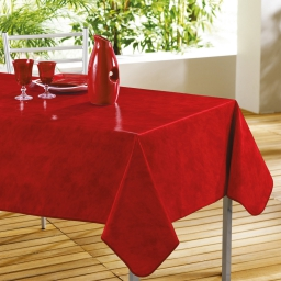 Nappe rectangle 140 x 240 cm pvc faux uni beton cire Rouge