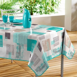 Nappe rectangle 140 x 240 cm pvc imprime carrea Bleu