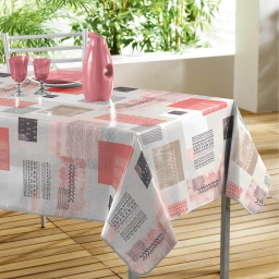 Nappe rectangle 140 x 240 cm pvc imprime carrea Corail