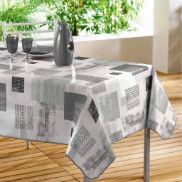 Nappe rectangle 140 x 240 cm pvc imprime carrea Gris