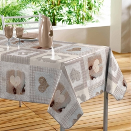 nappe rectangle 140 x 240 cm pvc imprime cosy coeur