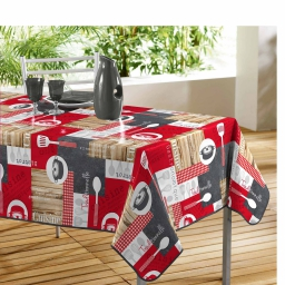 Nappe rectangle 140 x 240 cm pvc imprime cuisine bistrot Rouge