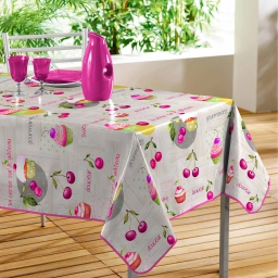 nappe rectangle 140 x 240 cm pvc imprime griottes