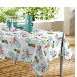 Nappe rectangle 140 x 240 cm pvc imprime lady flamingo Blanc