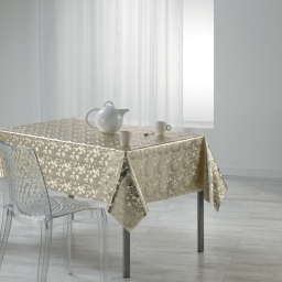 Nappe rectangle 140 x 240 cm pvc imprime metallise luny Or