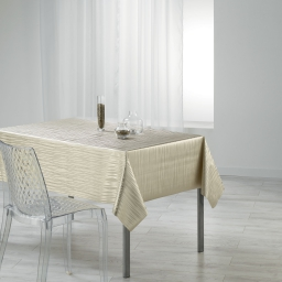 Nappe rectangle 140 x 240 cm pvc imprime metallise wavy Or